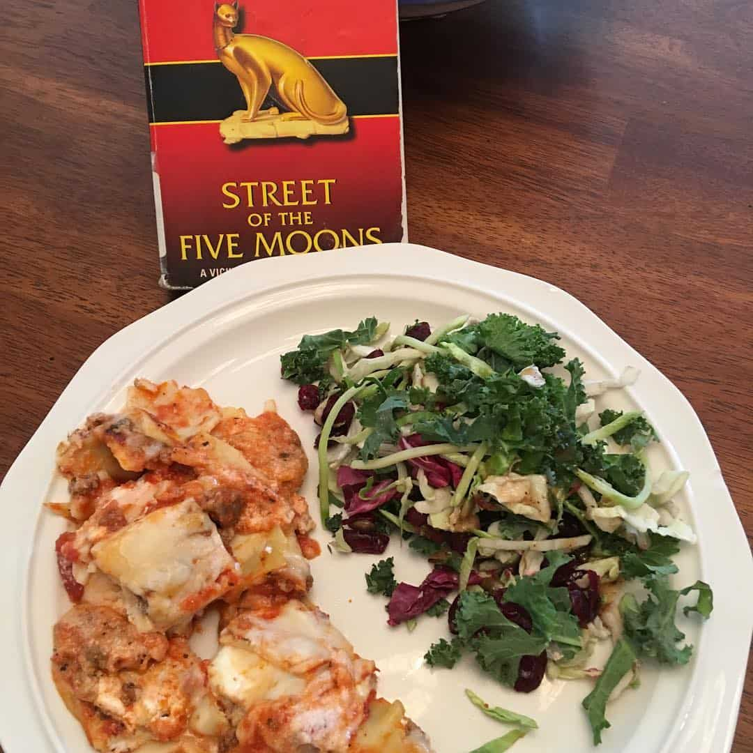 Dinner and a good book! I'm re-reading on of my favorites, the