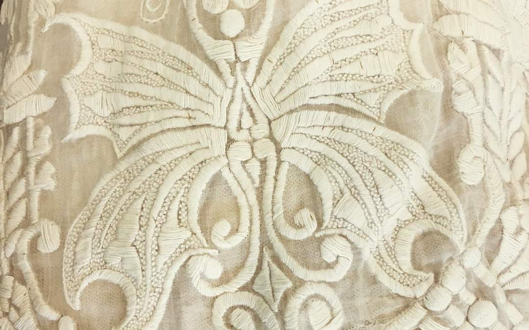 I saw some amazing detail on an Edwardian dress and learned about historical clothing at the RWA Northwest Houston chapter meeting last weekend