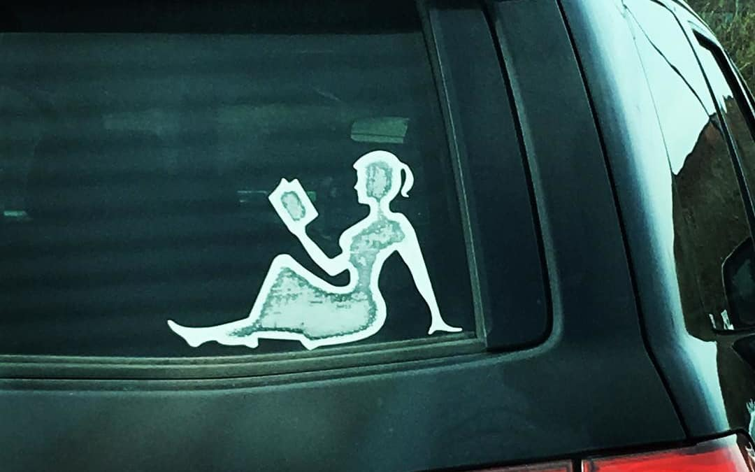 Spotted this window decal at the library—appropriate, no?